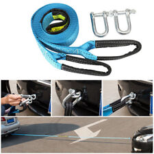 5M 8 Tons Tow Towing Pull Rope Belt Emergency Heavy Duty +U Hooks For Car Trucks