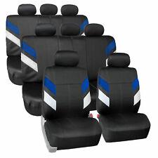 Neoprene 3 Row 8 Seaters Seat Covers Full Set For SUV Van Blue Black