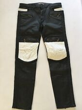 Robin's Jean Men Moto Straight Leg With Diamond Quilting At Knees Size 36