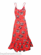 NEW LADIES PER UNA CORAL PINK FLORAL SUMMER PARTY STRAPPY SUN DRESS SIZE 8-18