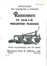 RANSOMES ts54 a & D MONTATO ARATRO operatori manuale con elenco delle parti