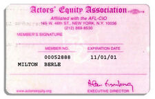 Milton Berle Actors' Equity Association Membership Card