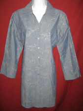 Denim & Co Dress Size Small Embroidered Button Front Blue Denim Casual EUC