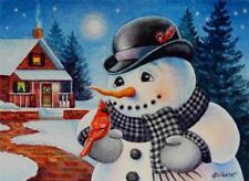 40% OFF SALE! ACEO Limited Edition Print Winter Snowman Cardinal Bird Moon