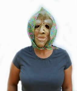 Old Lady Halloween Mask Face Witch Scary Creepy Mask with Hair & Scarf