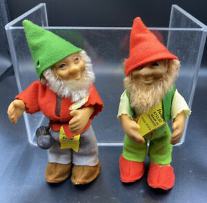 STEIFF LUCKI & PUCKI GNOME VINTAGE FIGURE DOLL ALL ID'S  MADE IN GERMANY