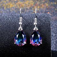 925 Silver Waterdrop Design BI Mystic Topaz Gemstone Drop Dangle Hook Earring !!