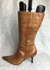 Topshop Ladies Mid-Calf Boots UK Size 5 EU 38 Brown Leather