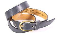 G79 Goldpfeil Damen Gürtel Leder schmal grau 75 cm Taillengürtel Vintage Boho