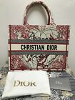 Christian DIOR Book Tote with White and Red embroidery D-Royaume d'Amour
