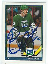 Brad Shaw Signed 1991/92 O-Pee-Chee Card #442