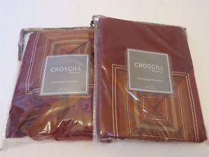 2 Croscill HERITAGE Stripe Euro Shams new Red