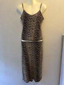 Vintage Large Top+ Skirt Set 90s Y2K WISH Stretch Leopard Stocking