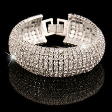 Women's 7 Row Crystal Wide Bracelet Lot Wristband Clasp white Gold Filled Silver