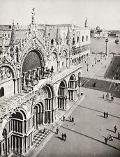 1934 Vintage 11x14 ITALY Venice Piazza San Marco Architecture Photo ~ HURLIMANN