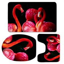 Flamingo Design Soft Washable Flannel Toilet Cover Set 3pcs Bathmat Sink Rug