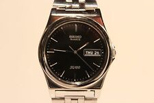"RETRO JAPAN ALL STAINLESS STEEL MEN'S QUARTZ WATCH""SEIKO""SQ 100/BLACK DIAL"