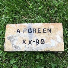 Antique Reclaimed Fire Brick Stamped A P Green KX-99 Incised Early 1900s