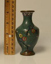 Vintage Cloisonne Floral Vase Different Color Green