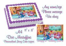 EDIBLE PERSONALISED DOC MCSTUFFINS BIRTHDAY A4 ICING CAKE TOPPER
