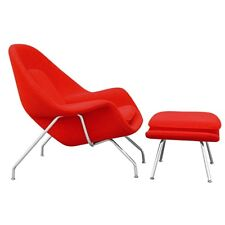 Womb Style Chair + Ottoman Red, 100% Wool, Mid-Century Modern Vintage Lounge NEW