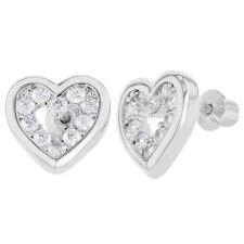 Rhodium Plated Openwork Clear CZ Heart Love Screw Back Girl Earrings