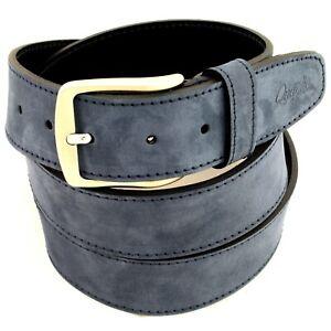 Cintura Uomo vera Pelle Blu Scamosciato Cinta Donna in Cuoio Casual di da 4 cm w
