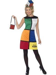 Ladies Licensed 80s Rubiks Cube Hat & Bag Fancy Dress Costume Retro Rubix Outfit