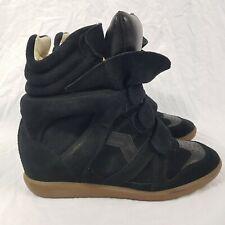 Isabel Marant Bekett Black Suede Leather Boots Sneakers Hi Top Size UK 7 EUR 40
