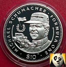 1992 LIBERIA $10 Ten Dollar F1 Formula One Michael Schumacher Silver Proof Coin