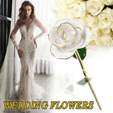 Real White Rose Dipped in 24k Gold Foil Elegant Flower Decor/Gift Free Nice Box