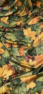 Green Yellow Red Leaves Print Charmeuse Satin Fabric 58'' PRICE PER METER