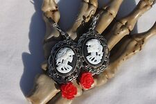 Victorian Lady Skull Cameo w/Red Rose Earrings Costume Halloween Jewelry 1pair