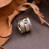 Blue Topaz Spinner Ring 925 Sterling Silver Meditation Ring Handmade Jewelry,