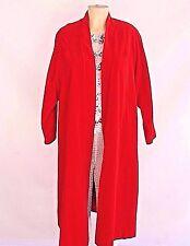 Vintage 1980s Red Velvet Swing Evening Knee Length Coat Opera Cape Sz M L