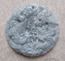 Pendentif Amulette Tigre et Phénix Jadéite pierre naturelle 4,5 cm Ø / 23 g