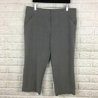Nicole Miller Womens Cropped Pants 12 Gray High Rise Stretch Solid Career Capri