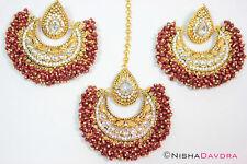 Deep Red Big Tikka Earrings Bellydancer Bollywood Indian