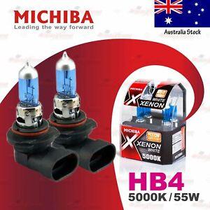2x HB4 9006 MICHIBA 12V 55W Headlight Halogen Bulbs Lamps 5000K WHITE FRONT FOG