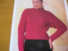 KNITTING PATTERN FOR LADIES CABLED JUMPER.