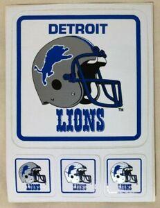 Detroit Lions Vintage Stickers - Helmet Team Logo Spellout - NFL Football