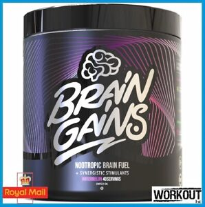 Brain Gains Black Edition 300g Nootropic Brain Fuel Energy Focus 40 SERV