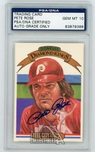 Pete Rose 1982 Donruss Diamond Kings Autographed Auto Card - PSA/DNA Gem MT 10