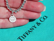 Tiffany & Co Return To Tiffany Sterling Silver Mini Round TAG Perline Braccialetto