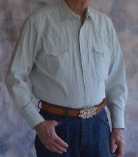 BRANDIN IRON Sz 17-1/2-34 Shirt Western Green Stripe Fancy Yoke 3 Button Cuff