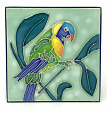 "Tropical Parrot Decorative Hand Painted Ceramic Tile 4""x 4"" Table or Wall Mount"