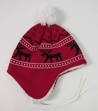 RED REINDEER CHRISTMAS DESIGN STOCKING CAP HAT W/ EAR FLAPS WHITE POM & TIES-NEW