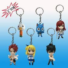 Anime Fairy Tail Natsu Happy Lucy Gray Erza Plue Figure Keychain Keyring 6PCS