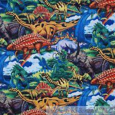 BonEful Fabric Cotton Quilt Rainbow Green Scenic Dinosaur Historic Safari SCRAP