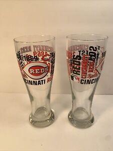 2 CINCINNATI REDS PILSNER BARWARE GLASSES  8'' TALL